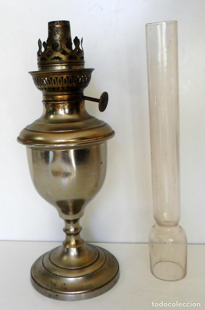 Antigüedades: ANTIGUO QUINQUÉ. CHAPA DE ACERO CROMADA, LATÓN DORADO Y CRISTAL. CA. 1900/1920 ¡¡44 CM. DE ALTO!! - Foto 5 - 66500646