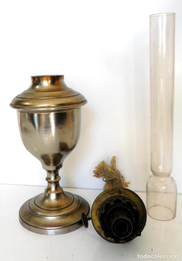 Antigüedades: ANTIGUO QUINQUÉ. CHAPA DE ACERO CROMADA, LATÓN DORADO Y CRISTAL. CA. 1900/1920 ¡¡44 CM. DE ALTO!! - Foto 6 - 66500646