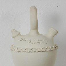 Antigüedades: BOTIJO BARRO BLANCO, BÚCARO, OCAÑA (TOLEDO) ALFAR CORONADO, DOLORES CORONADO. Lote 66502870