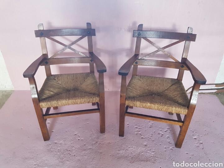 Sillones rusticos de madera con asiento de anea comprar for Sillones rusticos de madera