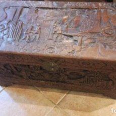 Antigüedades: BAUL MADERA TALLADA CHINO. Lote 66819814