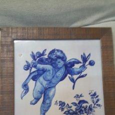 Antigüedades: ANGEL PINTADO A MANO SOBRE AZULEJO ANTIGUO CERAMICA VALENCIANA. Lote 66859458