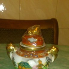Antigüedades: PRECIOSO TARRO CON TAPA DE PORCELANA PINTADA A MANO DE JAPÓN. SANSUMA. Lote 66880254