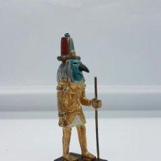 Antigüedades: PEQUEÑA FIGURA DE PLOMO DE DIOS DE LA MITOLOGIA EGIPCIA, POLICROMADO A MANO .. Lote 66880326