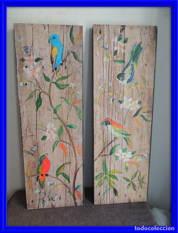 Decorativa pareja de cuadros de pajaros comprar en - Cuadros de parejas ...