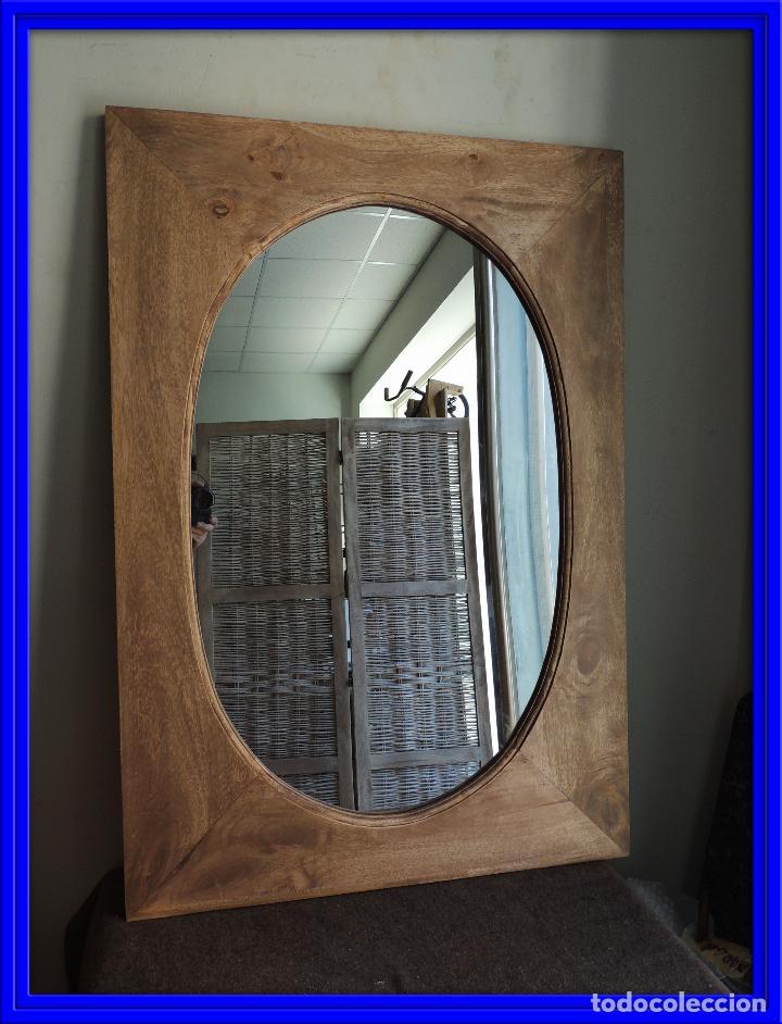 ESPEJO DE MADERA LAVADA CON LUNA OVAL (Antigüedades - Muebles Antiguos - Espejos Antiguos)