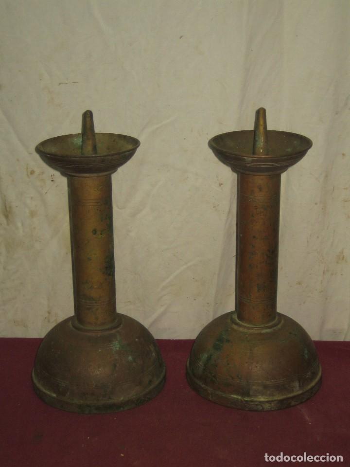 candelabros pareja de hacheros soportes para cirios o velas grandes xix