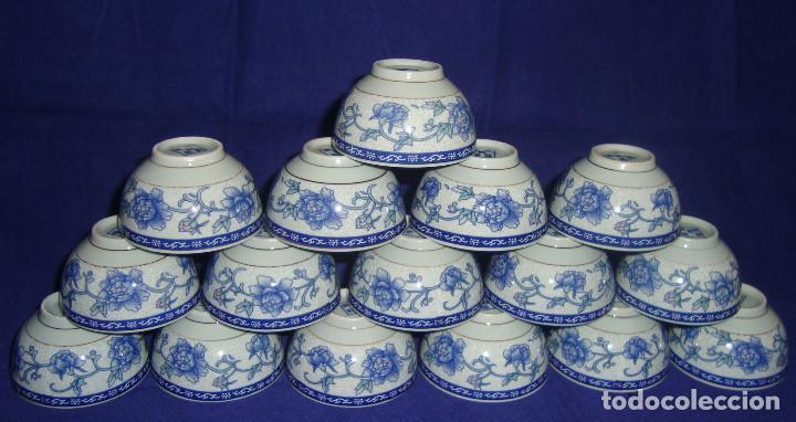 CUENCOS SEREMONIA DEL TE PORCELANA CHINA FLOR DE LOTO AZUL (Antigüedades - Porcelanas y Cerámicas - China)