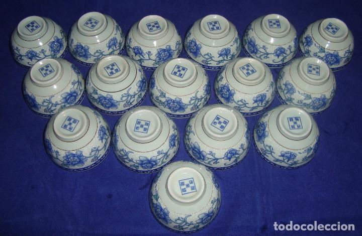 Antigüedades: CUENCOS SEREMONIA DEL TE PORCELANA CHINA FLOR DE LOTO AZUL - Foto 2 - 66992810