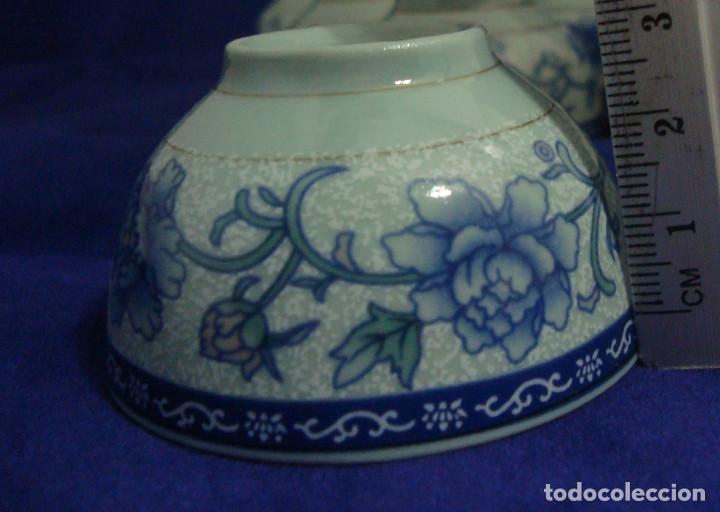 Antigüedades: CUENCOS SEREMONIA DEL TE PORCELANA CHINA FLOR DE LOTO AZUL - Foto 6 - 66992810