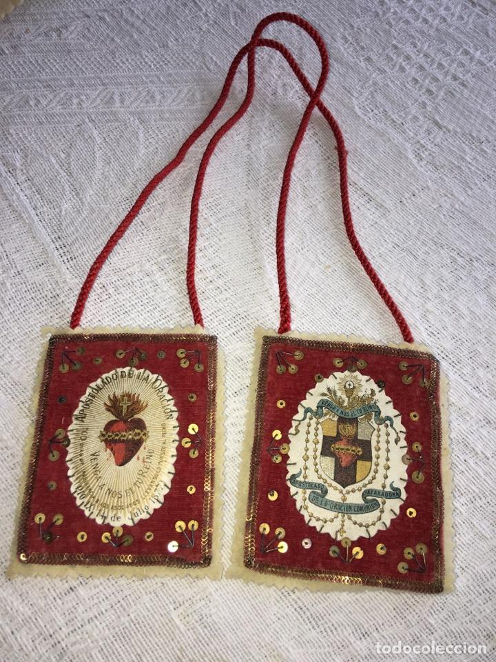 GRAN ESCAPULARIO AÑO 1877 (Antigüedades - Religiosas - Escapularios Antiguos)