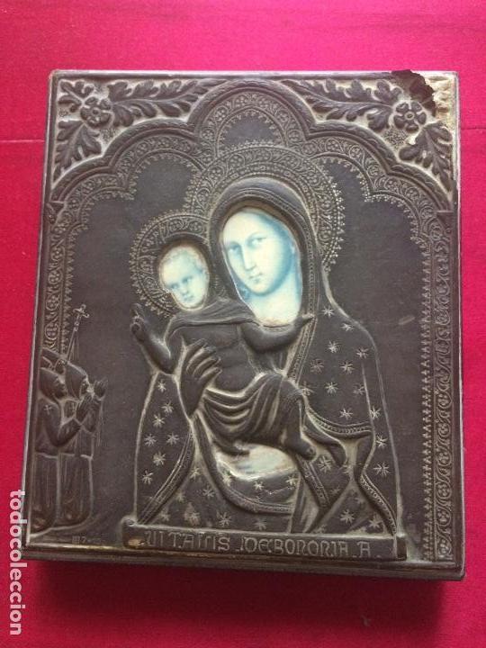 ICONO RELIGIOSO DE PLATA PUNZONADA Y TRASERA DE MADERA S.XIX (Antigüedades - Platería - Plata de Ley Antigua)