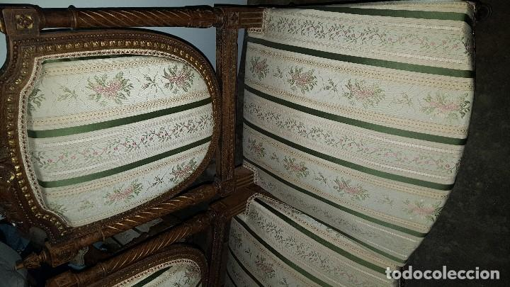 Antigüedades: 5 SILLAS ISABELINAS Y TRESILLO - Foto 6 - 67038790