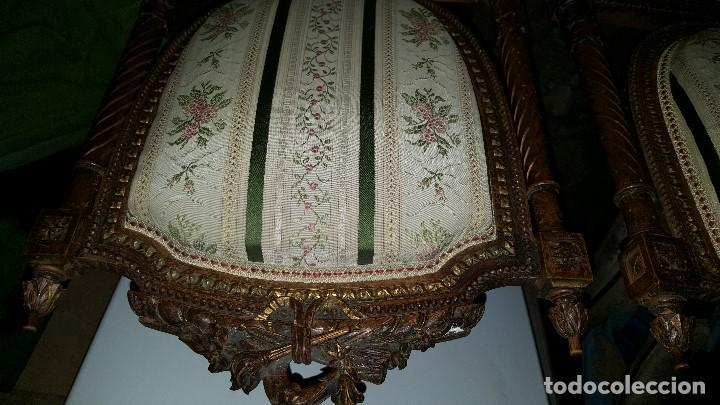 Antigüedades: 5 SILLAS ISABELINAS Y TRESILLO - Foto 9 - 67038790