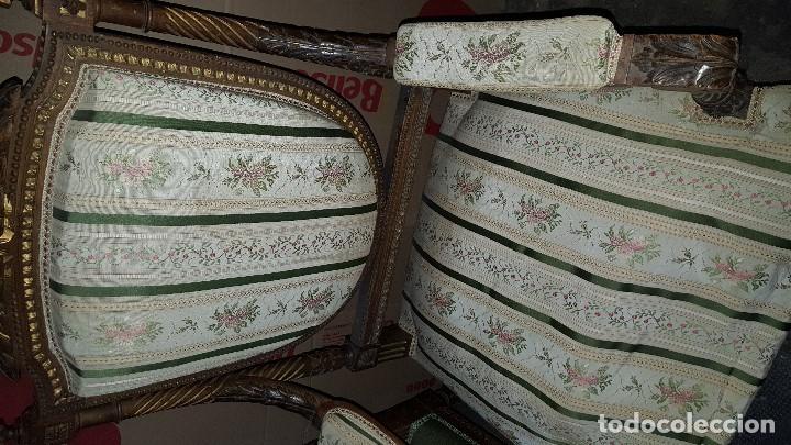 Antigüedades: 5 SILLAS ISABELINAS Y TRESILLO - Foto 11 - 67038790