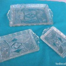 Antigüedades: BANDEJA DE VIDRIO MOLDADO, LOTE DE 3. Lote 67072858