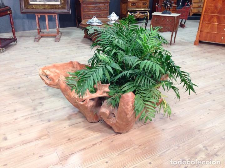 Antigüedades: Florero de madera de teca de Indonesia - Foto 3 - 67090789