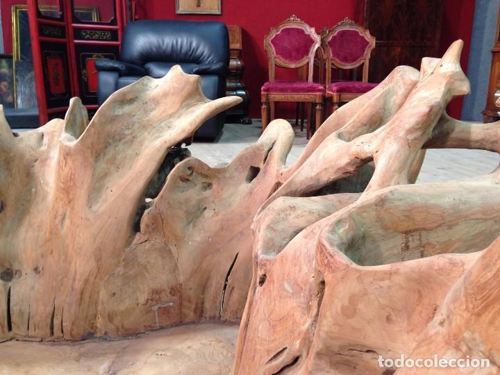 Antigüedades: Florero de madera de teca de Indonesia - Foto 11 - 67090789