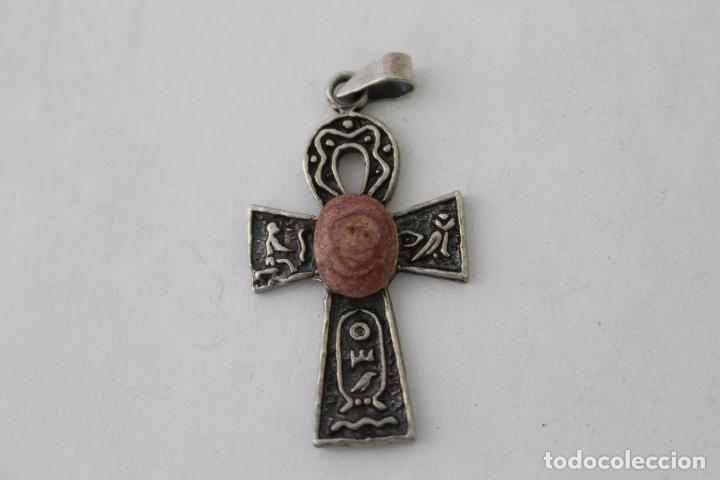 Antigüedades: colgante cruz antigua en plata de ley con piedra violeta - Foto 3 - 114409488