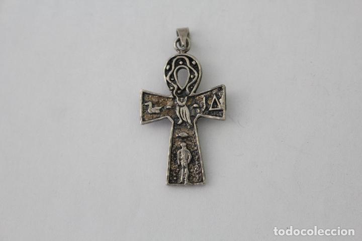 Antigüedades: colgante cruz antigua en plata de ley con piedra violeta - Foto 4 - 114409488