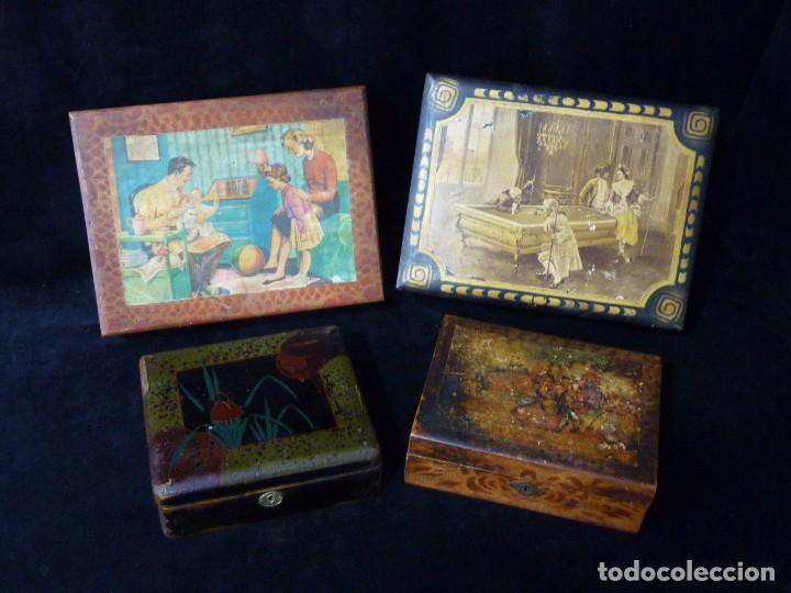 lote de antiguas cajas de madera joyero para restaurar aos