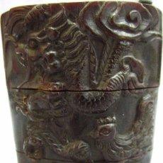 Antigüedades: BUEY, CUERNO CHINO TALLADO , FIRMADO,. Lote 67309925