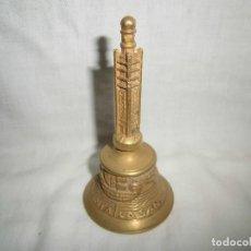 Antigüedades: CAMPANILLA DE BRONCE CON LA LEYENDA LA PINTA LA NIÑA LA SANTA MARIA. Lote 67351693