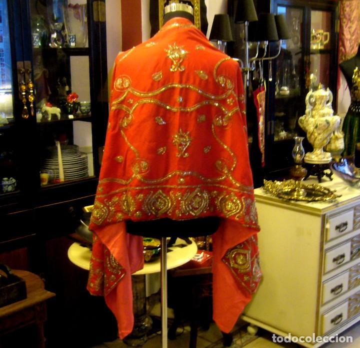 Antigüedades: ANTIGUO CHAL - ECHARPE DE CHIFFON CON ESPECTACULAR BORDADO A MANO - Foto 9 - 67416321