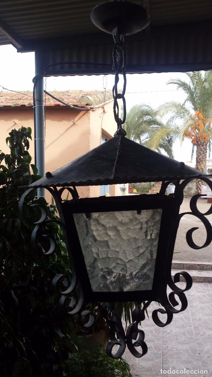Antigüedades: precioso farol de hierro - Foto 2 - 67474425