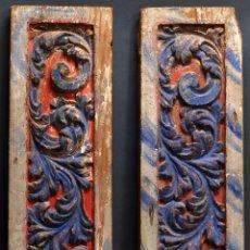 Antigüedades: PAREJA PANELES CASTELLANOS MADERA TALLADA POLICROMADA ARTESONADO PALACIO Ó SIMILAR S XVII - S XVIII. Lote 67499857