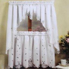 Antigüedades: PRECIOSO JUEGO DE 4 PIEZAS DE CORTINAS DE ENCAJES DE BELGICA.ALGODON BLANCO.NUEVO. Lote 67518941