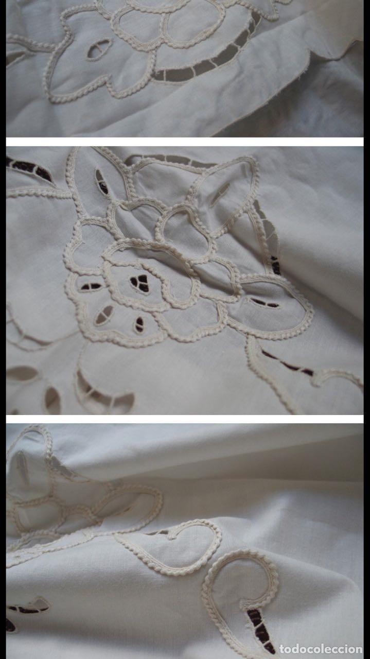 Antigüedades: Magnifico juego 4 piezas cortinas.Bordado cutwork y cinta aplicada. Blanco.Nuevo - Foto 2 - 204669196