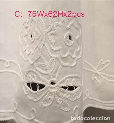 Antigüedades: Magnifico juego 4 piezas cortinas.Bordado cutwork y cinta aplicada. Blanco.Nuevo - Foto 3 - 204669196