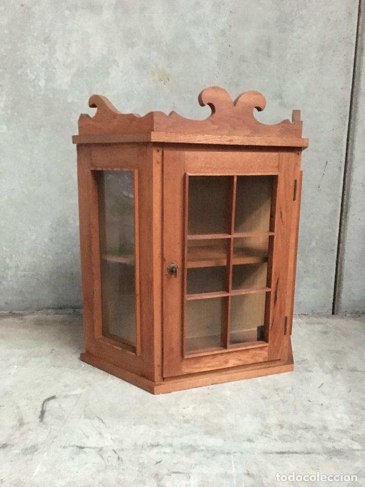 Vitrina cocina alacena s xx en madera de roble comprar vitrinas antiguas en todocoleccion - Alacena de madera ...