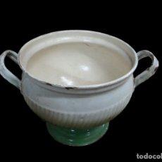 Antigüedades: ANTIGUA SOPERA DE METAL ESMALTADA EN VERDE.. Lote 29177729