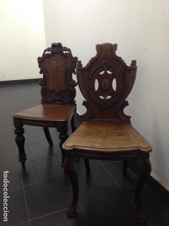 PAREJA SILLAS CAOBA SIGLO XIX (Antigüedades - Muebles Antiguos - Sillas Antiguas)