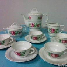 Antigüedades: JUEGO CAFE PORCELANA SANTA CLARA. Lote 67588377