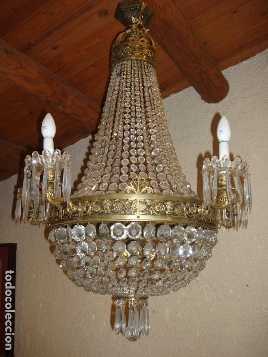 antigua y gran lampara imperio en bronce y cristal luces exteriores y interiores