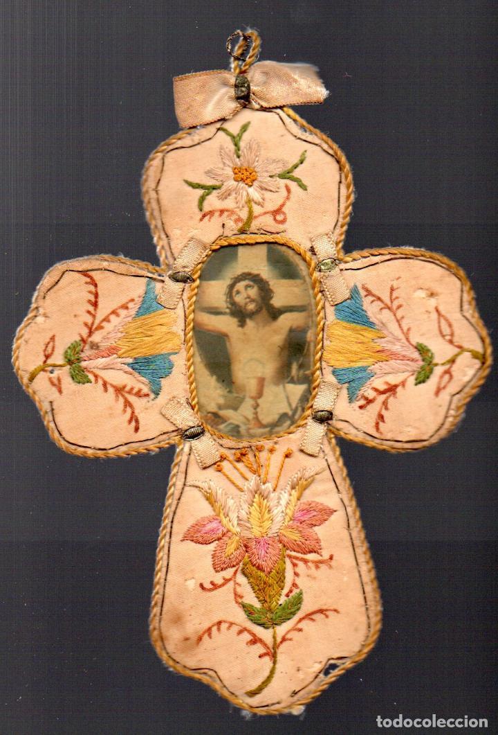 ANTIGUO ESCAPULARIO DE JESUS CRUCIFICADO (Antigüedades - Religiosas - Escapularios Antiguos)