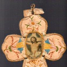 Antigüedades: ANTIGUO ESCAPULARIO DE JESUS CRUCIFICADO. Lote 67765737