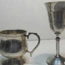 Antiquitäten - Conjunto de Copa y Jarra de Plata Grabada años 50 - 67777185