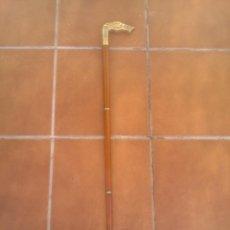 Antigüedades: PRECIOSO BASTON ANTIGUO DESMONTABLE .CABEZA DE PERRO GALGO EN BRONCE. VER LAS FOTOS.. Lote 67784629