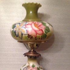 Antigüedades: LAMPARA OPALINA TIPO QUINQUE. GRAN TAMAÑO 70 CM. Lote 67787197