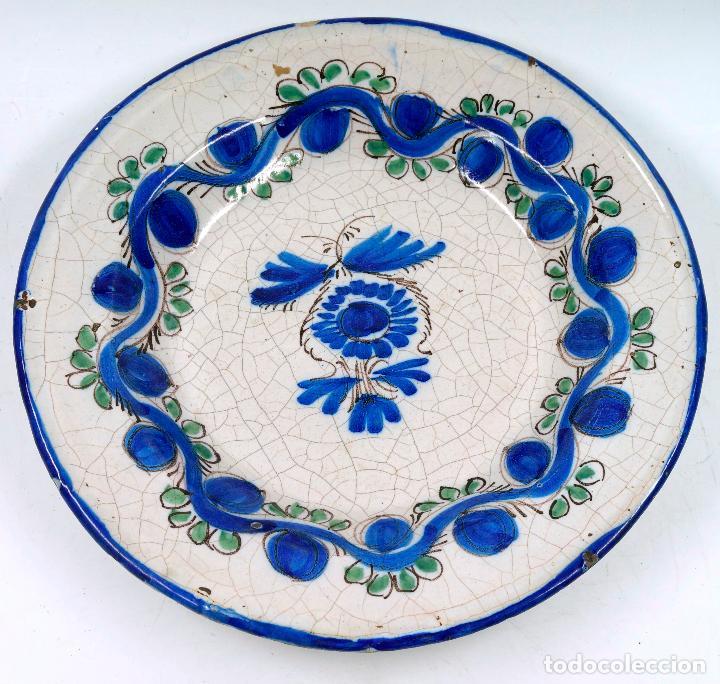 PLATO DE MANISES ANTIGUO S.XIX. 31 CM DIÁMETRO (Antigüedades - Porcelanas y Cerámicas - Manises)