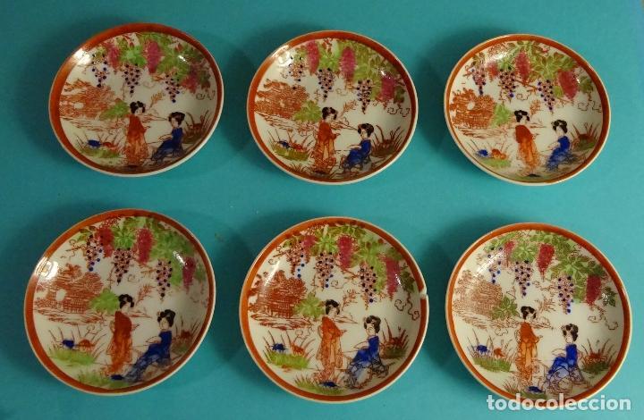 SEIS PLATOS DE PORCELANA TRASLUCIDA. MARCA EN REVERSO. DIÁMETRO 9 CM (Antigüedades - Porcelana y Cerámica - Japón)