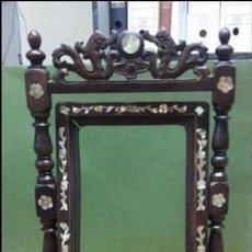 Antigüedades: ESPECTACULAR MARCO PARA ESPEJO DE TOCADOR CON INCRUSTACIONES DE NACAR. Lote 67971137