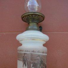Antigüedades: PEQUEÑO, CURIOSO Y RARO QUINQUÉ DE OPALINA CON MOTIVOS TAURINOS ( DESCABELLO ).SIGLO XIX.. Lote 67978849