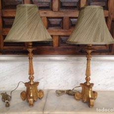 Antigüedades: LAMPARA DE SOBREMESA MADERA DORADA DEL SIGLO XIX. Lote 68025210