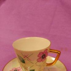 Antigüedades: TAZA Y PLATO DE CAFÉ DE LIMOGES. Lote 68029079