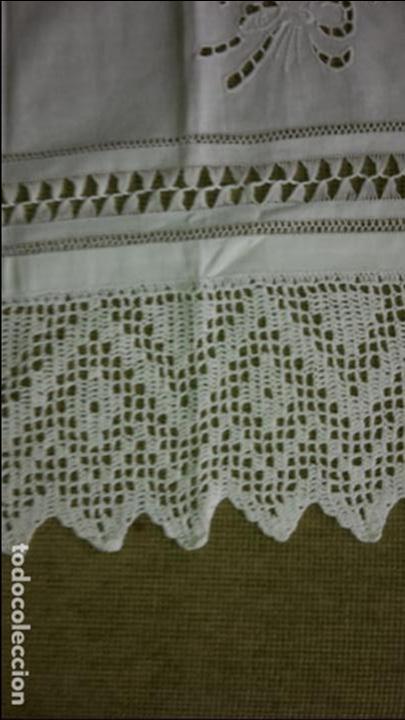 Antigüedades: Panel cortina, bordado a mano y ganchillo.ALGODON BLANCO 80 x 160 cm. Nuevo - Foto 9 - 250237330
